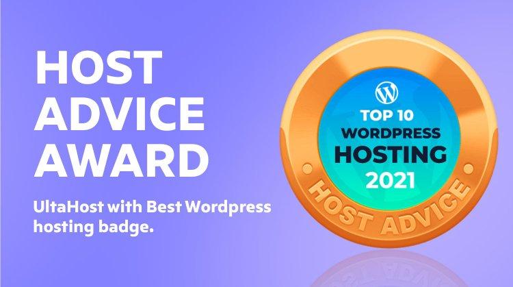 HostAdvice awards UltaHost with a badge
